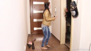 LoveWetting Keira and Lexi Dona Fighting for the Bathroom Pee Desperation Dance Almost Made It Jeans and Pink Panties