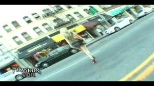 Naked in the street hot blond exhibitionist short skirt