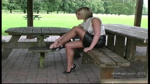 2 sexy blonde in leather skirt tan pantyhose outdoor