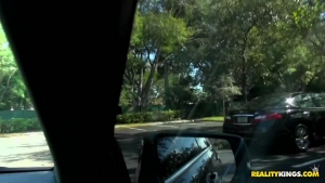 Briana belle chauffe un mec dans la voiture et fini par se faire troucher sur le bord de la