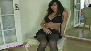 April in pantyhose solo exhib in short skirt