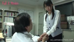 Busty Asian office lady Tsubomi gets hot cumshot at work at  h