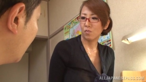 Busty Japanese teacher gets lots of facial cumshot at  h