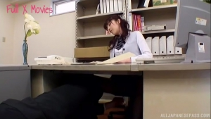 Horny Japanese AV Model gives upskirt shot and gets banged at office  bur cute japanese office sex h