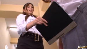 Hot and sexy Japanese porn star student Saki Ayano sucking and stroking a hard cock at  h