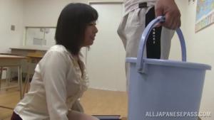 Kanari Tsubaki sexy Asian teacher is a hot milf for sucking cock at  h