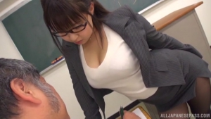 Makise Ai pleasing huge stiff cocks in class at tr  nitr makise ai amazing japanese tits h