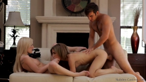 Natasha White gets off in a porn casting very rich on the couch