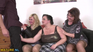 Three amateur mature ladies sharing a young stud sex video
