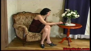 Cougar brunette woman petted and fucked by a bit shy youngster