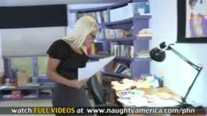 Sexy blonde swallows her co workers cock in the office 4028718