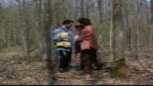 Deux hommes baise une nympho dans les bois
