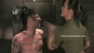 XXX Movies Brunette pornstar dressed in army panties and tight blouse slapping and torturing man in