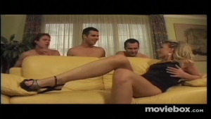 A gang bang on the chair with a sexy blonde
