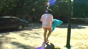 A pretty brunette is raped by two voyeurs in a public shower