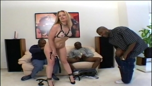 This blonde babe will feel the wrath of three blacks perverse