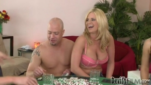Two guys fucking three super nympho blonde in a crazy orgy