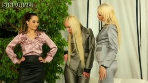 Un mec en rut baise trois nympho bien habillées