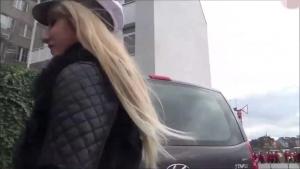 Kkaarrni sexy blonde blowjob in blue pantyhose on public