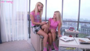 Caroll clare hd two cute blond girls for one dick