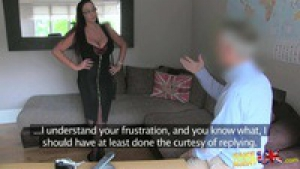 Emma Butt British chick with massive tits gives agent a shot at anal